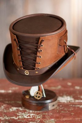 Steampunk Victorian Vested Leather Hat