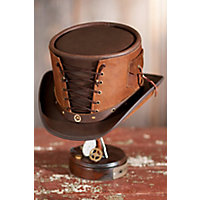 Steampunk Victorian Vested Leather Hat, Brown / Brown, Size Xl (7 1 / 2 - 7 5 / 8) Western & Country