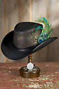 Steampunk Opal Leather Hat