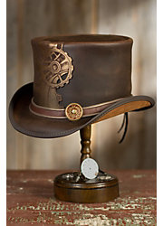Steampunk Sprocket Leather Top Hat