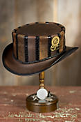 Steampunk Wembley Leather Top Hat