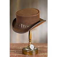 Steampunk Marlow Leather Hat with Metallic Hatband BROWN Size Medium 22.25quot $169.00 AT vintagedancer.com