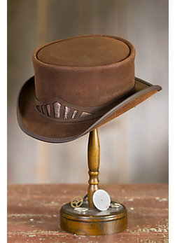 Steampunk Marlow Leather Hat with Metallic Hatband