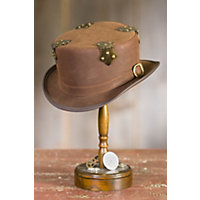 Steampunk Fritz Leather Hat BROWN Size  XLarge 23.75quot $199.00 AT vintagedancer.com