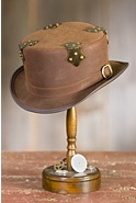 Steampunk Fritz Leather Hat with Metal Hinges