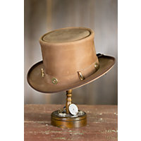 Steampunk Dandy Leather Top Hat with Ammo Hatband PECAN Size XLarge 23.75quot $169.00 AT vintagedancer.com