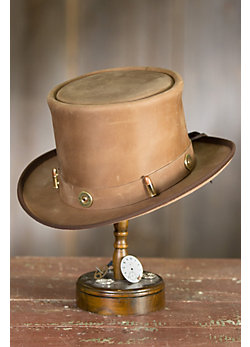 Steampunk Dandy Leather Top Hat with Ammo Hatband