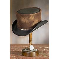 Steampunk Hatlas Leather Top Hat, BLACK, Size Medium/Large (7 1/8–7 1/4)