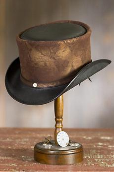 Steampunk Hatlas Leather Top Hat