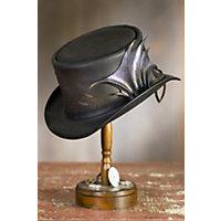 Steampunk Men's Hats Steampunk Draco Leather Hat BLACK Size  XLarge 23.75quot $399.00 AT vintagedancer.com