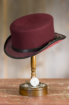 Steampunk Danbury Felt and Leather Top Hat