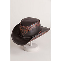 Men's Vintage Style Hats Steampunk Victorian Cocktailer Leather Top Hat BROWN Size XXLarge 24.5quot $239.00 AT vintagedancer.com