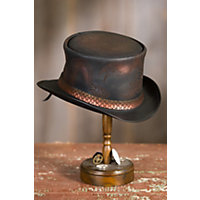 Men's Vintage Style Hats Steampunk Balance Leather Top Hat BLACK Size Extra Large 23.75quot circumference $239.00 AT vintagedancer.com