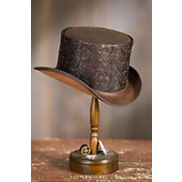 Men's Vintage Style Hats Steampunk Gent Leather Top Hat BROWN Size Extra Extra Large 24.5quot circumference $165.00 AT vintagedancer.com