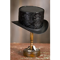 Men's Vintage Style Hats Steampunk Royale Leather Top Hat BLACK Size Extra Extra Large 24.5quot circumference $165.00 AT vintagedancer.com