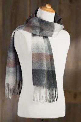 Classic Plaid Cashmere-Blend Merino Wool Scarf