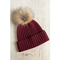 Cashmere Beanie Hat with Detachable Silver Fox and Raccoon Fur Poms