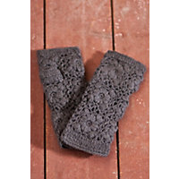 Women's Handmade Flower Crocheted Wool Wristwarmers, Dark Grey Western & Country