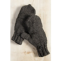 Women's Fingerless Wool Gloves With Mitten Flap, Charcoal Western & Country