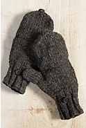 Women's Fingerless Wool Gloves with Mitten Flap