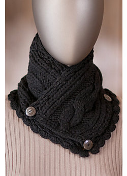Women's Handmade Wool Neckwarmer with Button Closures