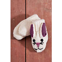 Children'S Bunny Handmade Wool Mittens, White, Size Kids (Ages 4-11) Western & Country