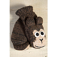 Children'S Monkey Handmade Wool Mittens, Brown, Size Kids (Ages 4-11) Western & Country