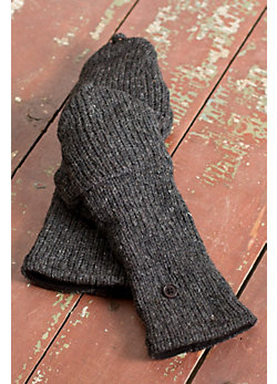 Women's Wool Handwarmers with Flaps and Fleece Lining