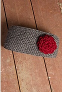 Fleece-Lined Wool Headband with Detachable Rosette