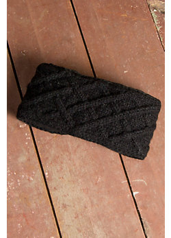 Women's Lattice Cable Fleece-Lined Wool Headband