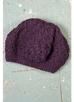 Women's Handmade Wool Beret with Rosette