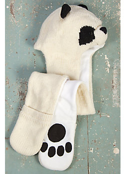 Children's Panda Handmade Wool Hat Scarf