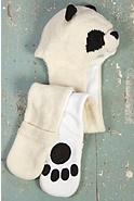 Children's Panda Handmade Wool Hat Scarf