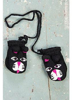 Children's Cat Handmade Wool Mittens
