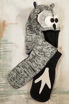 Children's Owl Handmade Wool Hat Scarf