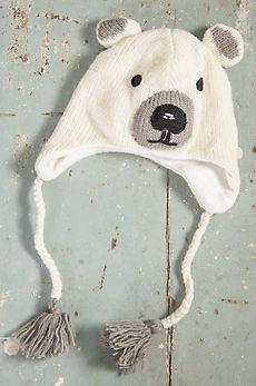 Children's Polar Bear Handmade Wool Beanie Hat