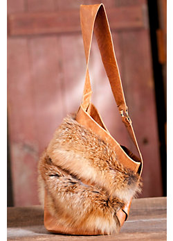 Women's Red Fox Fur and Leather Handbag