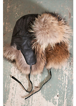 Leather Trooper Hat with Raccoon Fur Trim