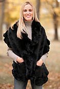 Women's Ruffled Rex Rabbit Fur Stole with Pockets