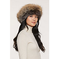 Sheared Beaver Fur Cossack Hat with Fox Fur Trim, BLACK/CROSS, Size Small (6 3/4–6 7/8)