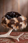 Women's Sheared Mink Fur Hat with 3-Tone Fox Fur Trim