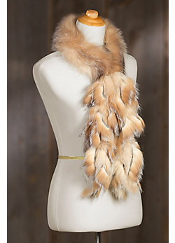Women's Fox Fur Collar with Fringes