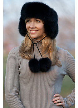 Women's Fox Fur Headband with Poms