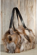 Women's Valerie Crystal Fox Fur Tote Bag