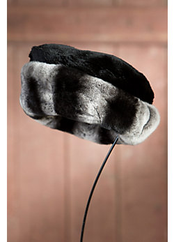 Women's Sheared Beaver Fur Hat with Rex Rabbit Fur Trim