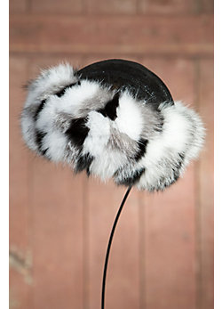 Women's Sparkle Leather Hat with Fox Fur Trim