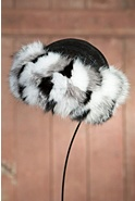 Women's Sparkle Leather Hat with Fox Fur Trim