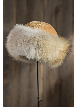 Women's Sheared Beaver Fur Hat with Coyote Fur Trim