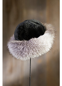 Women's Sheared Beaver Fur Hat with Fox Fur Trim