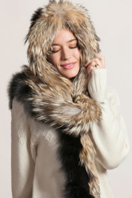 Fox Fur Scarf and Hood with Coyote Fur Trim